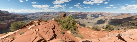 A panoramic view of the Grand Canyon seen from the Cedar Ridge Point
