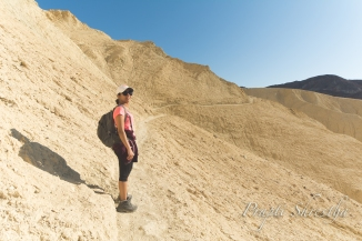 Hiking under Manly Beacon. On the right is a steep drop to hell in the Death Valley